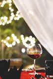Set the table for dinner model romantic style. Set the table for dinner with wine and rose model romantic style Stock Photography