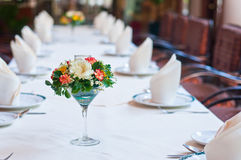 Set of table with flowers Stock Image
