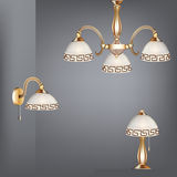 Set table lamp chandelier and sconces in antique s Stock Image