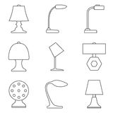 Set of table lamp icon. Stock Images