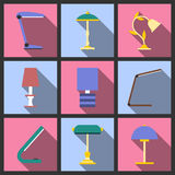 Set of table lamp icon. Stock Photo