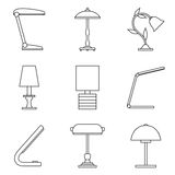 Set of table lamp icon. Royalty Free Stock Image