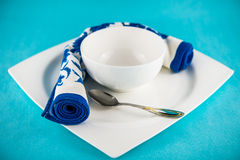 Set table for lunch. Flower ornament towel set table for lunch Stock Image