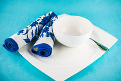 Set table for lunch. Flower ornament towel set table for lunch Royalty Free Stock Photography
