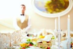 Set table in luxury restaurant Stock Photos