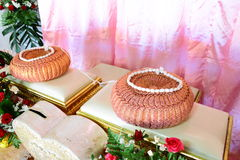 Set of table and pillow for usage in wedding by Thai style Royalty Free Stock Images