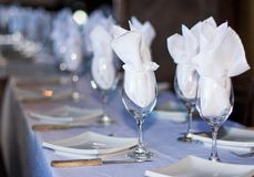 Set Table in a Restaurant royalty free stock image