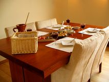 Set table with Spanish tapas served. In a nice warm surrounding royalty free stock image