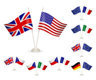 SET - Table stand with flags. Royalty Free Stock Photography