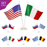 SET - Table stand with flags. Royalty Free Stock Photo