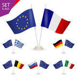 SET - Table stand with flags. Stock Photo