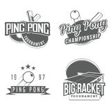 Set of table tennis / ping pong labels. Logos, badges and design elements (racket, tennis ball, tennis table). Sport logos / elements for your tournament logo Royalty Free Stock Photography