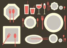 Set of table ware on brown backgrounds Stock Photography