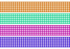 Set of 4 tablecloth patterns. 4 checkered tablecloth backgrounds brown green purple blue Stock Image