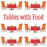 Set of Tables with Food Royalty Free Stock Photos