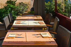 Set tables at outside dining area Stock Image
