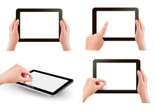 Set of tables pc with hands. Vector Stock Photos