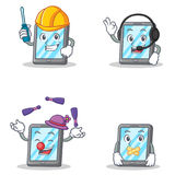 Set of tablet character with automotive headphone juggling silent Royalty Free Stock Photos