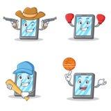 Set of tablet character with cowboy boxing baseball basketball Stock Photography