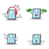 Set of tablet character with listening music money call me money eye Stock Image