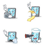 Set of tablet character with menu waiter binocular photographer Royalty Free Stock Photos