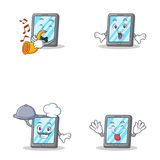 Set of tablet character with trumpet tongue out suprised chef Stock Photo
