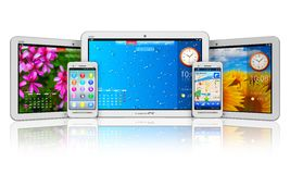 Set of tablet computers and smartphones Stock Photo