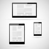 Set of tablet computers template. Vector illustration Stock Photos