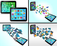 Set of tablet 10.06.13. Set of four abstract images for designers for various necessities vector illustration