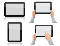 Set of Tablet PC with Hands. Set of digital tablet pc with hands.  on white Royalty Free Stock Photography