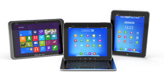 Set of Tablet PCs and keyboard Royalty Free Stock Photography