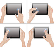 Set of tablet screen with hands Stock Image