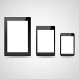 Set of tablets. Set of  black tablet, laptop and smart phone Stock Photography
