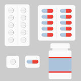 A set of tablets. And capsules. Flat design, illustration stock illustration