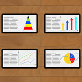 Set of tablets with color chart. Vector economy graph rate and diagram illustration Royalty Free Stock Photography