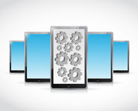 Set of tablets and gears illustration design Stock Photography
