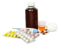 A set of tablets and pills for a speedy recovery and prevention of diseases. Isolated Stock Image