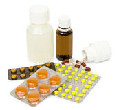A set of tablets and pills for a speedy recovery and prevention of diseases. Isolated Stock Images