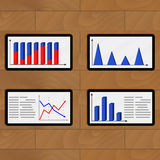 Set of tablets report economic. Vector 3d chart and graph ilustration Royalty Free Stock Photography