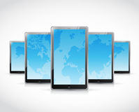 Set of tablets and a world map. illustration Stock Photo