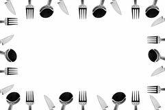 Set of Tableware. A frame made of cutlery (forks, knifes and spoons Stock Photography
