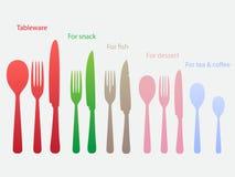 Set of tableware. Spoons, forks, knifes. Set of eating utensils Royalty Free Stock Images