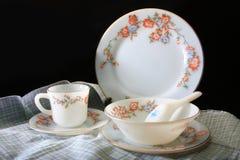 Antique crockery set , set of tableware royalty free stock image