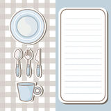 Set of tableware with note paper background Stock Photo