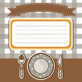 Set of tableware with note paper background Stock Photos