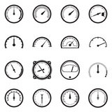 Set of tachometer icons. Vector illustration. Set of tachometer icons. Black icons isolated on a white background. Vector illustration Royalty Free Stock Image