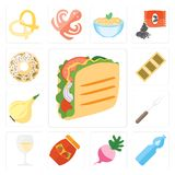 Set of Taco, Water, Radish, Jam, Glass, Fork, Onion, Biscuit, Do. Set Of 13 simple editable icons such as Taco, Water, Radish, Jam, Glass, Fork, Onion, Biscuit Stock Illustration