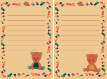 Set tag with teddy bear and toys for boy and girl royalty free illustration