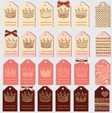 Set of tags 4variants in one style + back cover Stock Images