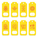 Set of tags for beekeeping, honey, apiary. Stock Image